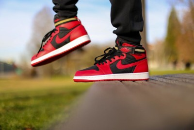 Air-Jordan-1-High-Strap-Bred-Gym-Red-On-Foot-03