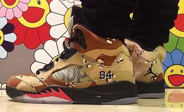 supreme-air-jordan-5-camo-on-feet