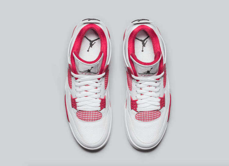 Air Jordan 4 Retro Hvit / Svart-gym Rød Q9dswnW