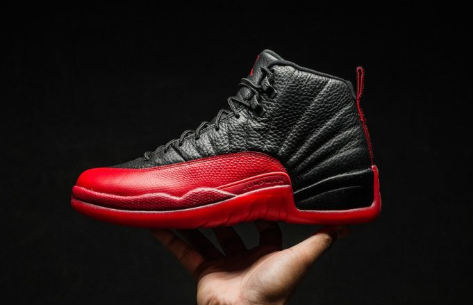 black and red jordan 12