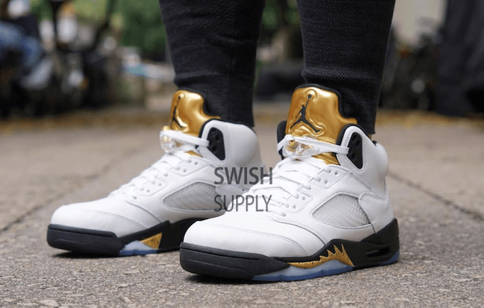 air jordan 5 metallic gold official photos