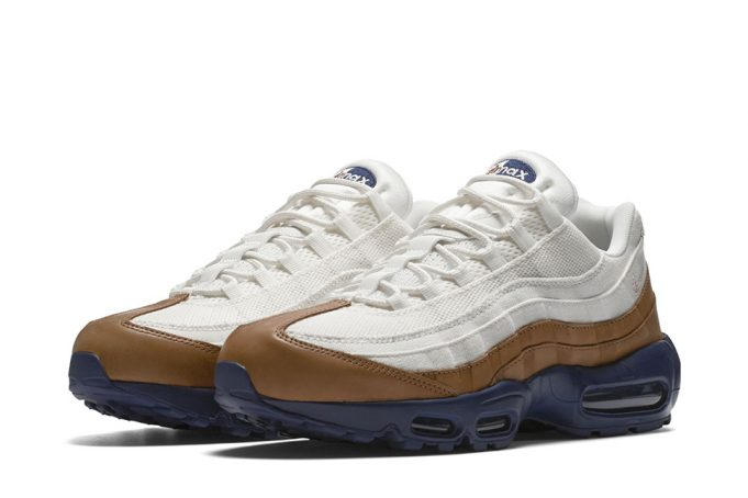 Nike Air Max 95 in White Canvas & Brown Leather - JustFreshKicks