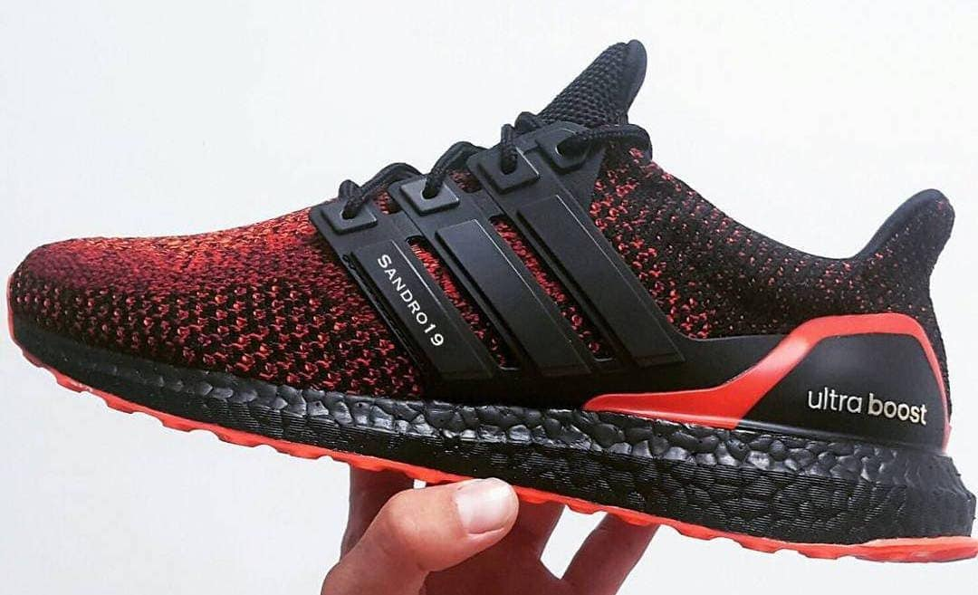 3d88c3e05 adidas Ultra Boost Solar Red Black Boost Customs - JustFreshKicks