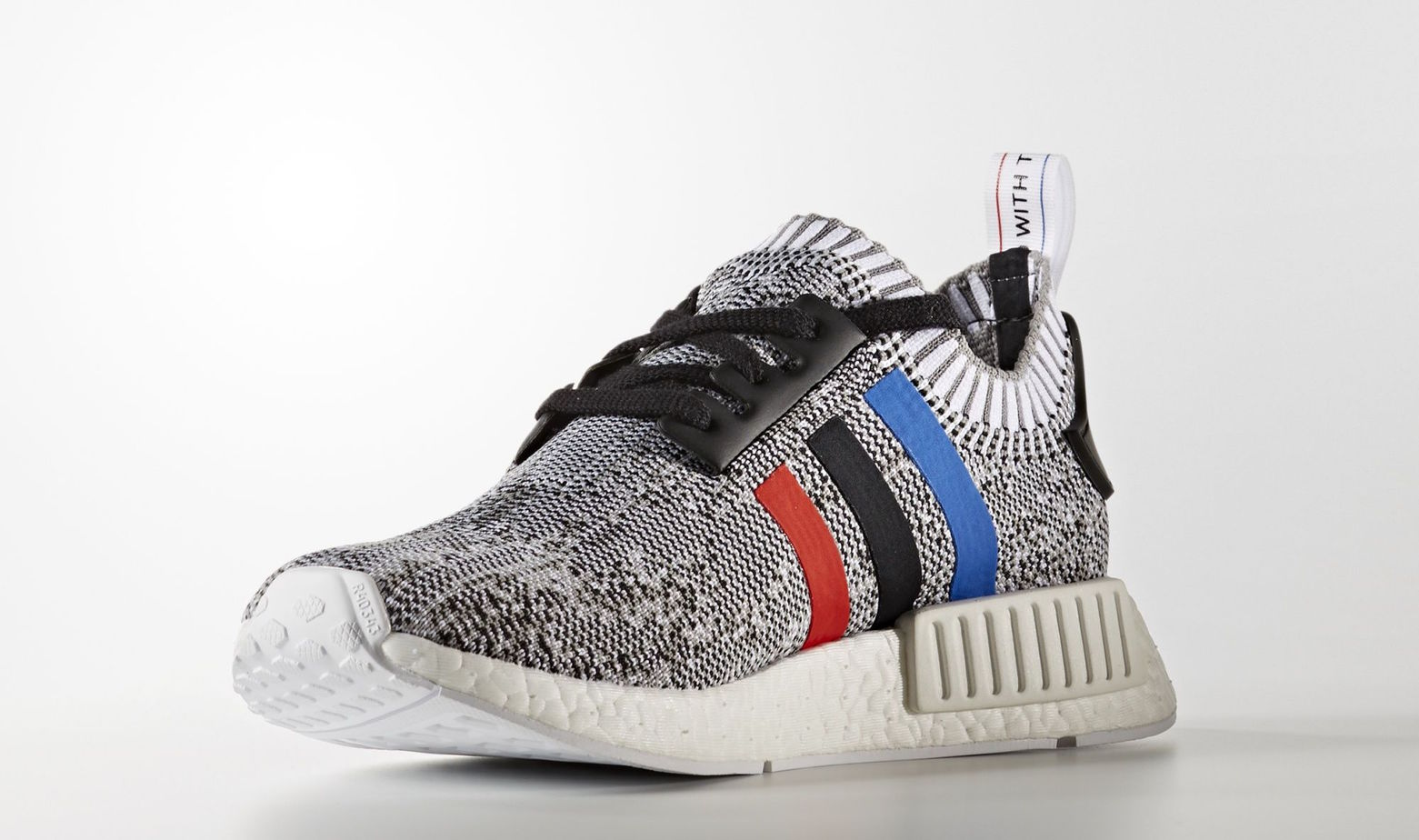 adidas NMD R1 Primeknit White Grey Tricolore Stripes