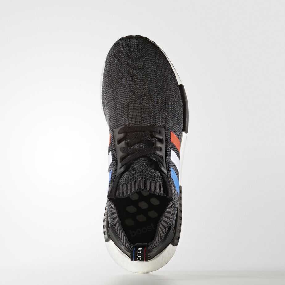 adidas NMD R1 Primeknit Black Tricolore Stripes