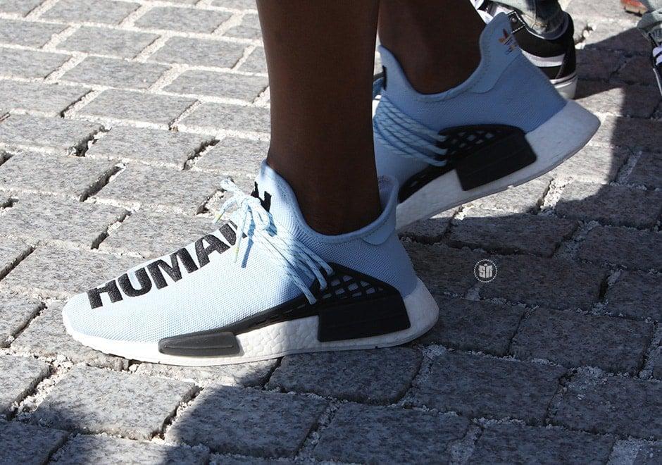 Pharrell Wears Quot Light Blue Quot Adidas Nmd To Yeezy Season 4
