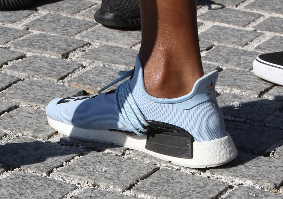 Pharrell Wears Quot Light Blue Quot Adidas Nmd To Yeezy Season 4