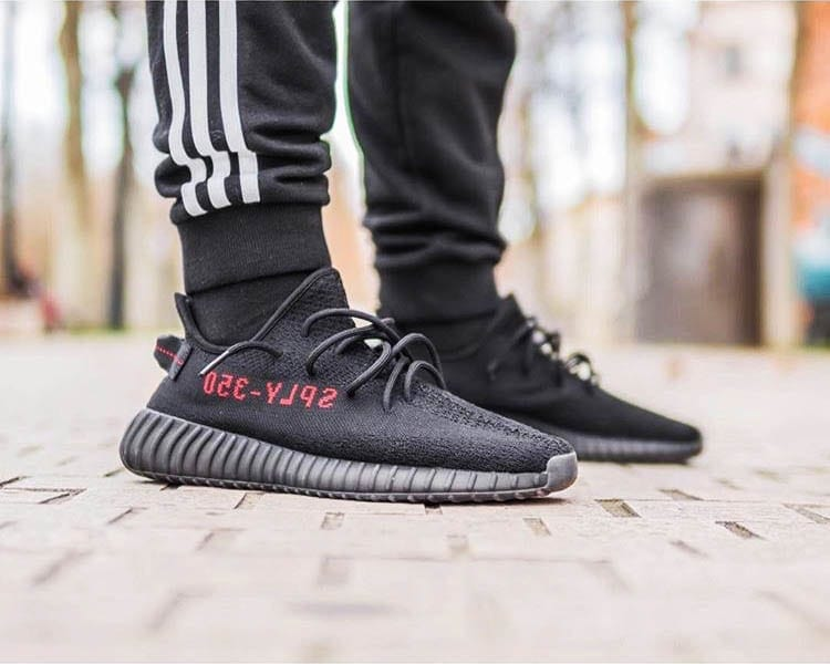2016 best replica yeezy 350 V2 black red &
