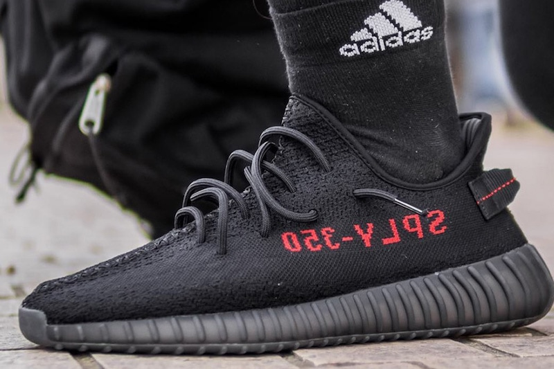 07c4598bc0e ... cheapest on foot look at the adidas yeezy boost 350 v2 black red 6e23c  09fdb