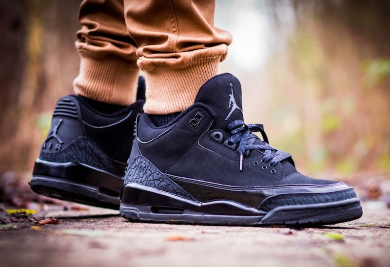 """The Air Jordan 3 Black Cat first released back in 2007, and it looks like the all black shoes will be joining the recent """"Black Cat"""" retro releases,"""