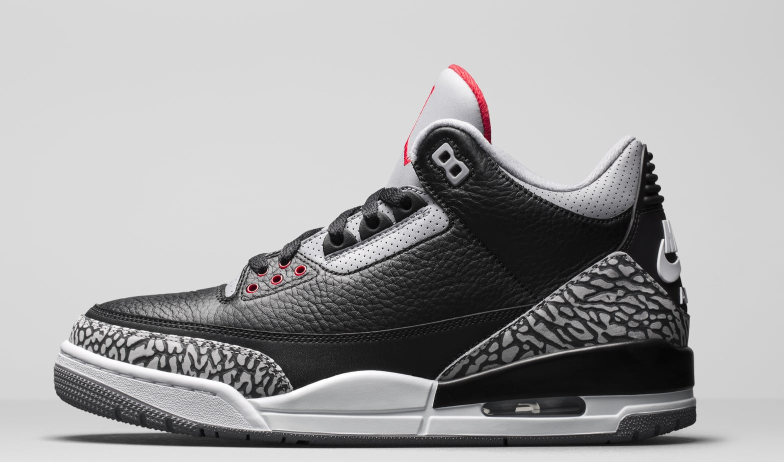"the best attitude 7afb7 74ba7 Air Jordan 3 ""Black Cement"" 2018. Release Date  February 17th, 2018. Price    200. Color  Black Cement Grey White Fire Red Style Code  854262-001"