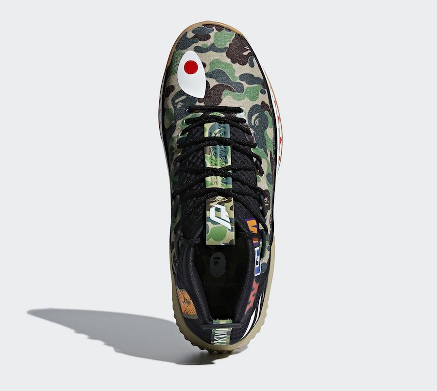 "hot sale online ace64 2b88c Bape x adidas Dame 4 ""Black Camo"" Release Date February 24, 2018. Price  150. Style Code AP9975"