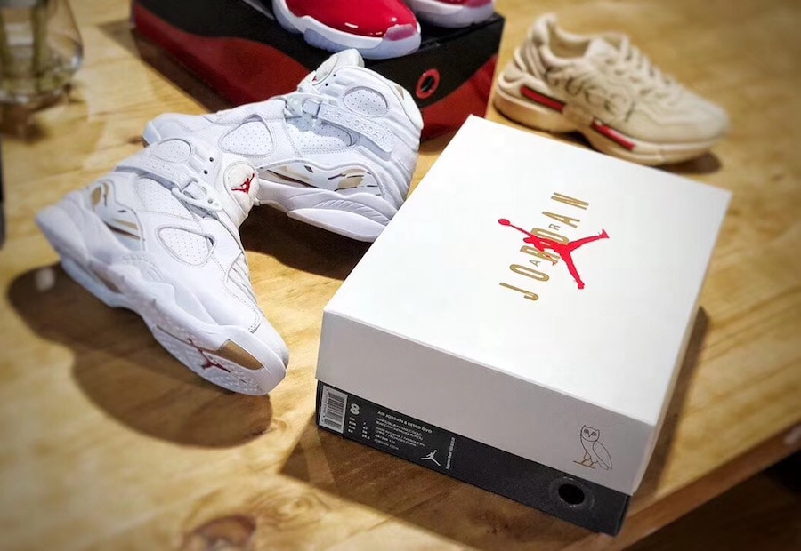 """best website c19c7 b1d4a Air Jordan 8 OVO """"White"""" Release Date  February 16, 2018. Price   225.  Color  White Metallic Gold-Varsity Red-Blur Style Code  AA1239-135"""