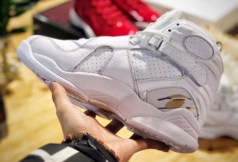 """best website 5e468 937cb Air Jordan 8 OVO """"White"""" Release Date  February 16, 2018. Price   225.  Color  White Metallic Gold-Varsity Red-Blur Style Code  AA1239-135"""