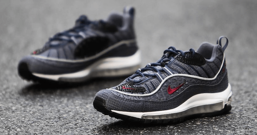 """998d2dcc9faa52 Nike Air Max 98 QS """"Thunder Blue"""" Color  Thunder Blue Team Red-Diffused Blue  Style Code  924462-400. Release Date  February 2018"""