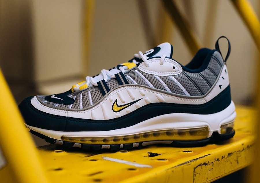 "14aab4238bb Nike Air Max 98 OG ""Tour Yellow"" White Tour Yellow Midnight Navy Cement  grey. Release Date  January 18"