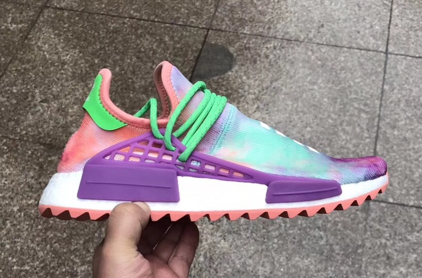 "3a1b4a66abfc64 Pharrell x adidas NMD Hu Trail ""Holi"" Color  Chalk Coral Flash Green-Lab  Purple Style Code  AC7034 Release Date  March 2"