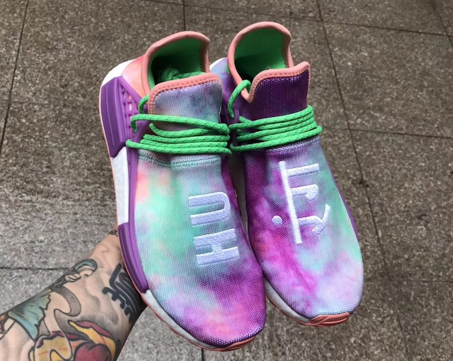 """e4b0a4c3d0a93 Pharrell x adidas NMD Hu Trail """"Holi"""" Color  Chalk Coral Flash Green-Lab  Purple Style Code  AC7034 Release Date  March 2"""