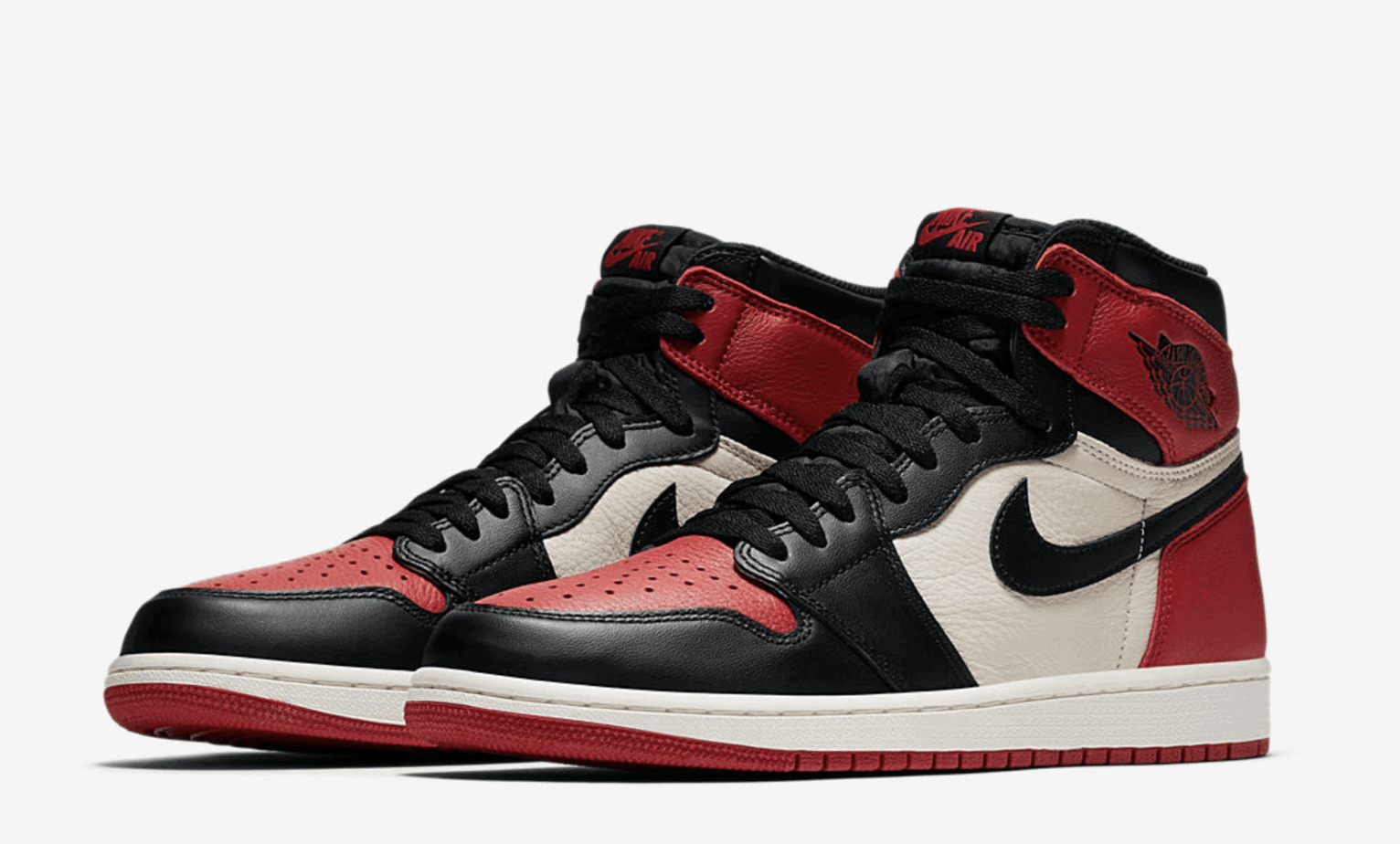 "Air Jordan 1 Retro OG High ""Bred Toe"" Release Date: February 24, 2018.  Price: $160. Style Code: 555088-610"