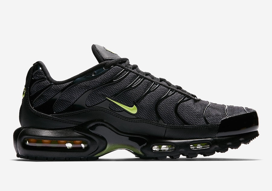 272d501b0ce4 Release Date Details. Nike Air Max Plus Color  Black Volt Glow-Wolf Grey ...