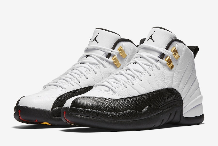 air jordan 12 taxi release date march 18 2018. price 190. color white black taxi varsity red style c
