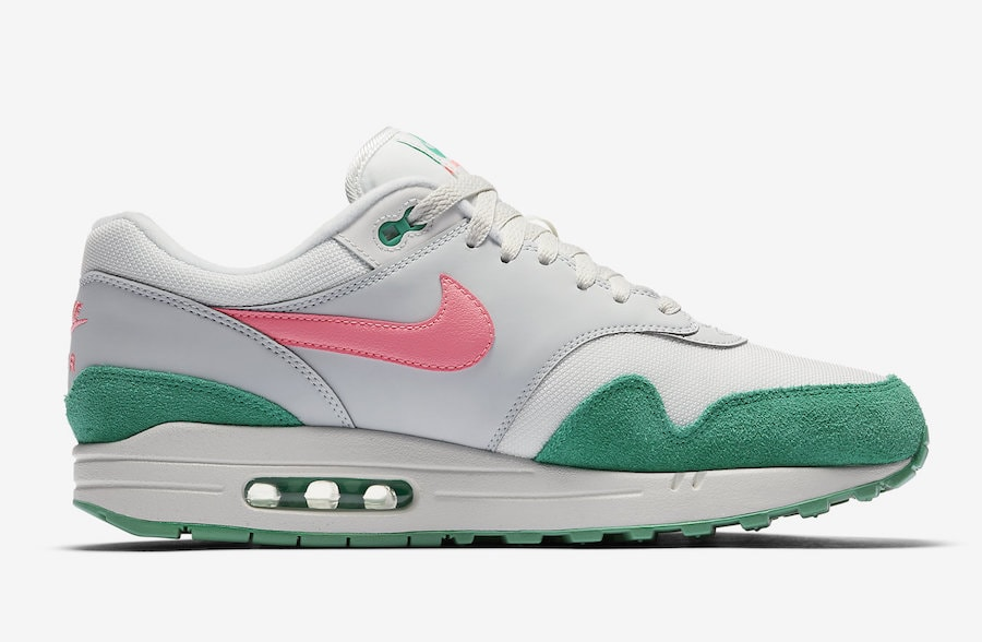 """save off 16b73 4f87d Nike Air Max 1 """"Watermelon"""" Release Date  TBD Price   130. Color  Summit  White Sunset Pulse-Kinetic Green Style Code  AH8145-106"""