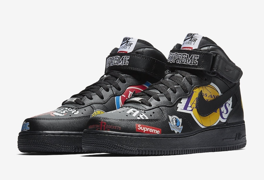 Supreme x NBA x Nike Air Force 1 Mid Release Date: February 2018. Price:  $165. Color: Black/Black Style Code: AQ8017-001