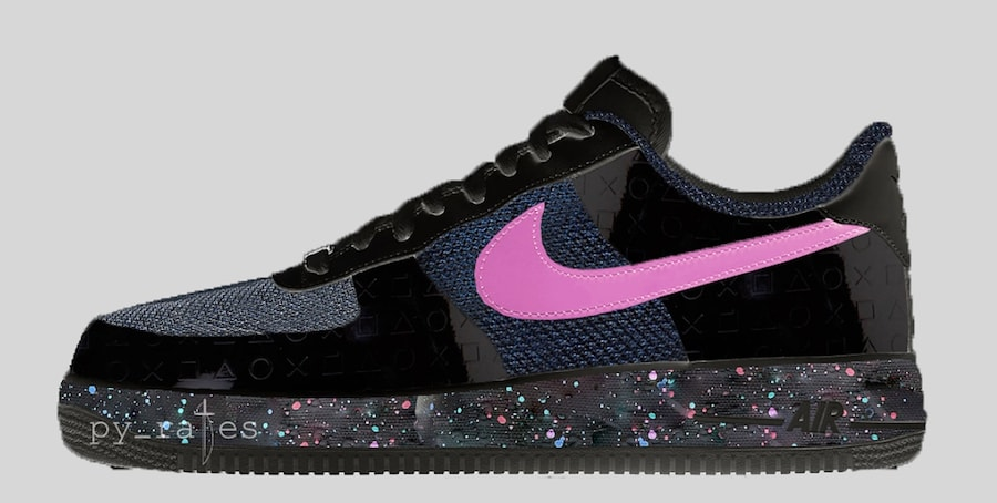 0d8e61910fb PlayStation x Nike AF1  18. Release Date  June July 2018. Color  Black Cobalt  Blaze Style Code  BQ3634-001. Images via py rates