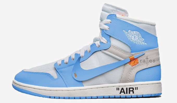 "90f24bafde8b Off-White x Air Jordan 1 Retro High OG ""UNC"" Release Date  May 2018. Price    190. Color  White Cone Dark Powder Blue Style Code  AQ0818-148"