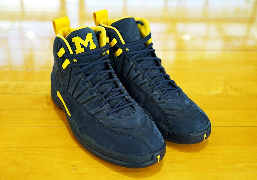 "6a3bc349195c Air Jordan 12 ""Michigan"" Release Date  June 2018. Price   225. Color  College  Navy Amarillo Style Code  BQ3180-407"