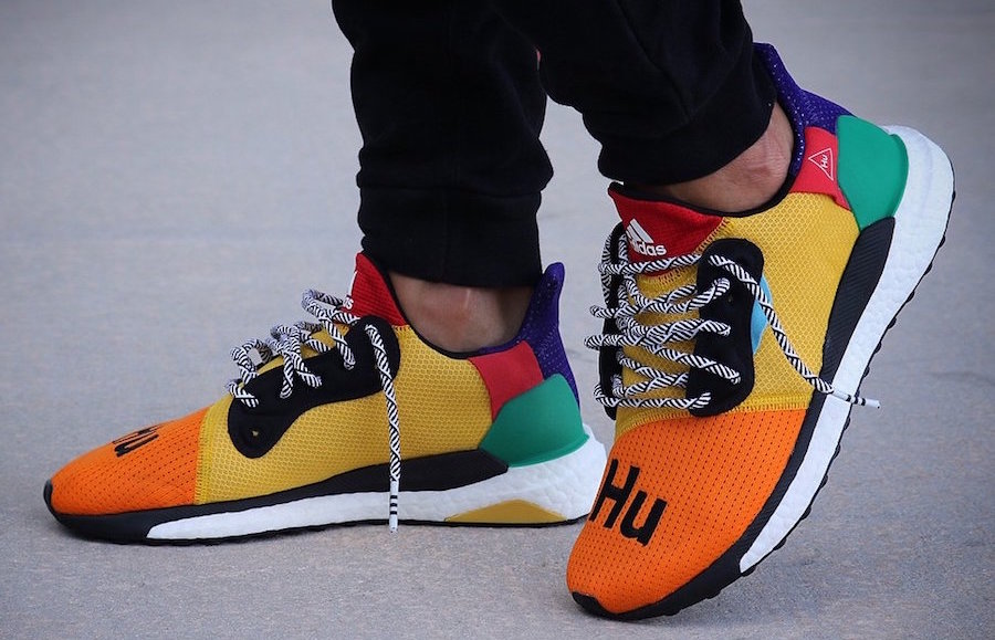 29607ef9f672 Pharrell Williams and adidas are always working on something new. The  latest footwear to leak from the pair features the signature Hu name and  look