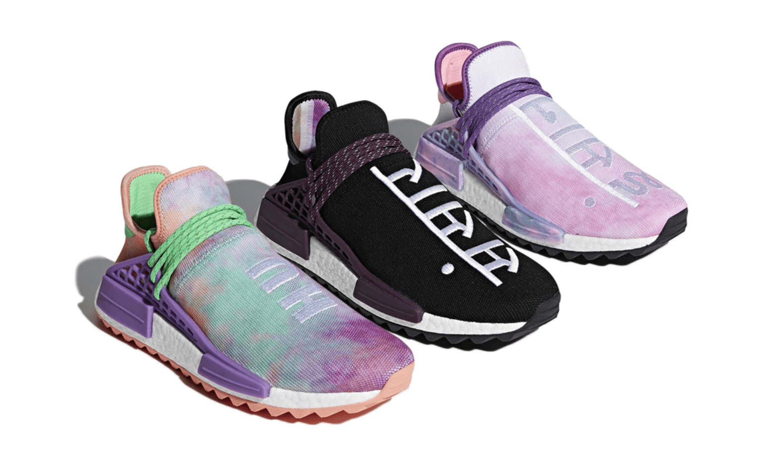 "768373758 The long anticipated Pharrell x adidas NMD Hu Holi ""Powder Dye"" Collection  is set release this Friday"