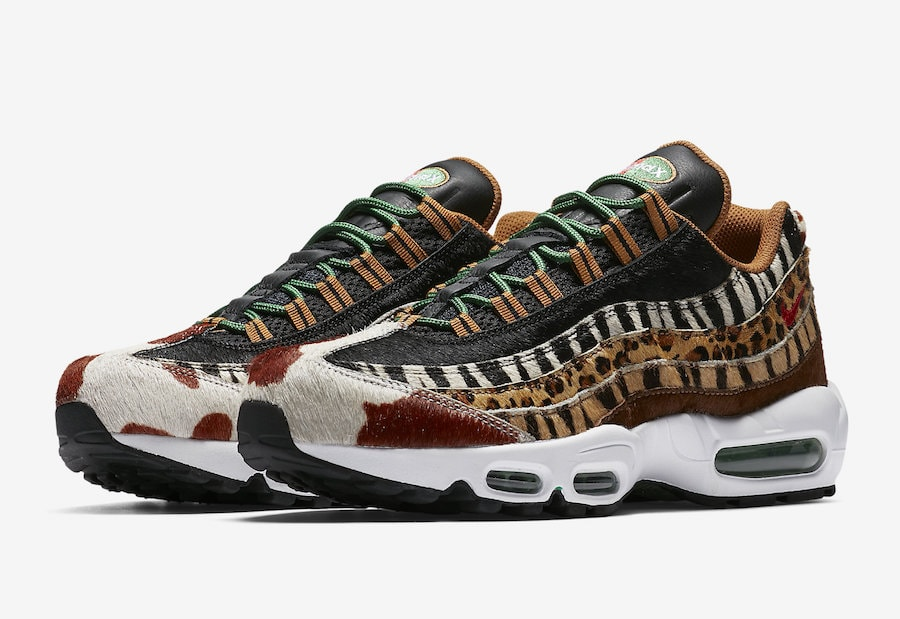 "buy popular 3c8b2 a556d atmos x Nike Air Max 95 DLX ""Animal Pack"" Release Date  March 17, 2018.  Price   200. Color  Pony Black-Classic Green-Sport Red Style Code   AQ0929-200"