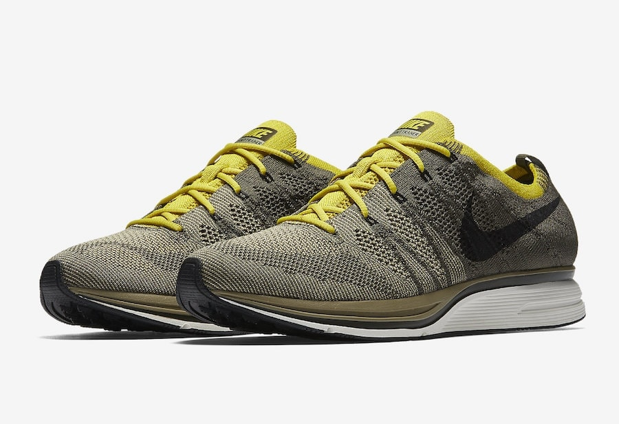 "3133a925b2da Nike Flyknit Trainer ""Cargo Khaki"" Release Date  Coming Soon Price   150.  Color  Cargo Khaki Bright Citron-White Style Code  AH8396-300"
