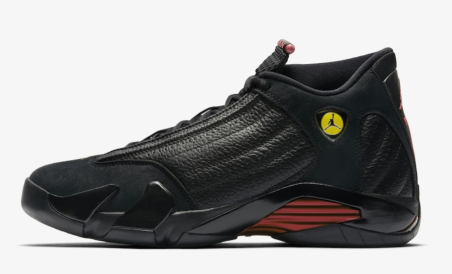 "Air Jordan 14 Retro ""Last Shot"" Release Date: June 14th, 2018. Price: $190. Color: Black/Varsity Red-Black Style Code: 487471-003"