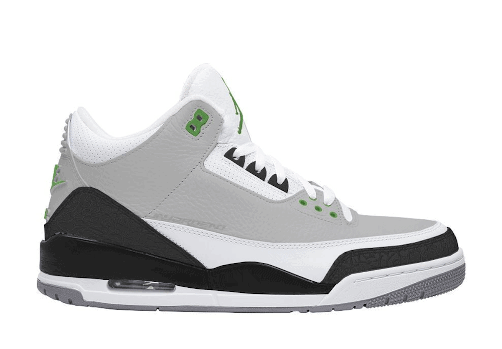 "26cce11e2e2d Air Jordan 3 Retro ""Chlorophyll"" Release Date  October 2018. Price   190.  Color  Light Smoke Grey Chlorophyll-Black-White-Sail Style Code  136064-006"