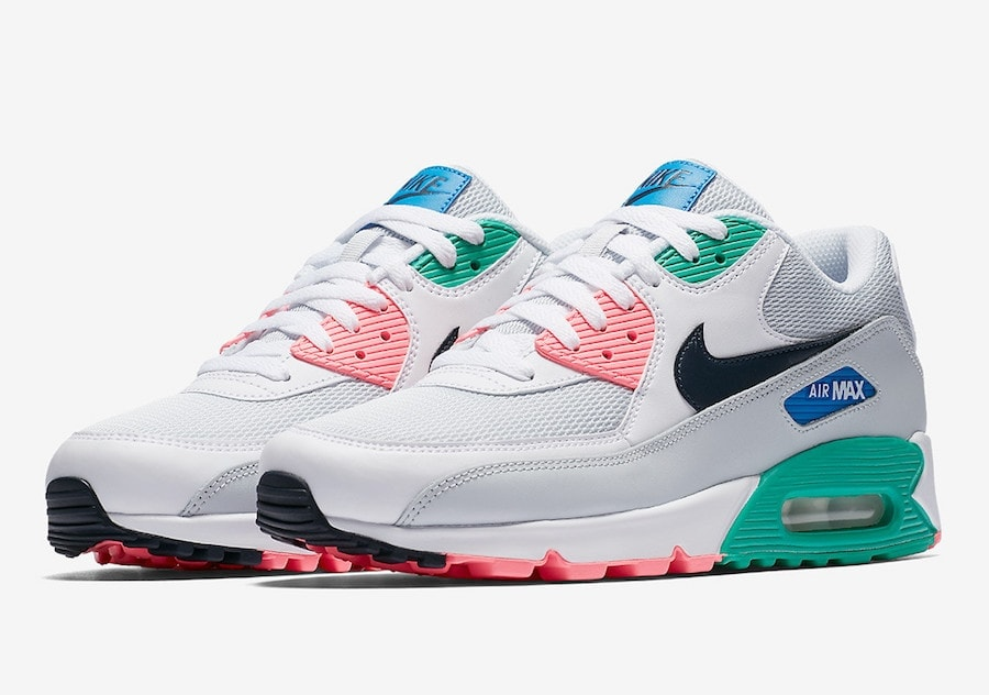 "Nike Air Max 90 Essential ""Summer Sea"" Release Date: April 7th, 2018. Color: White/Pure Platinum-Blue Nebula-Obsidian Style Code: AJ1285-100. Price: $110"