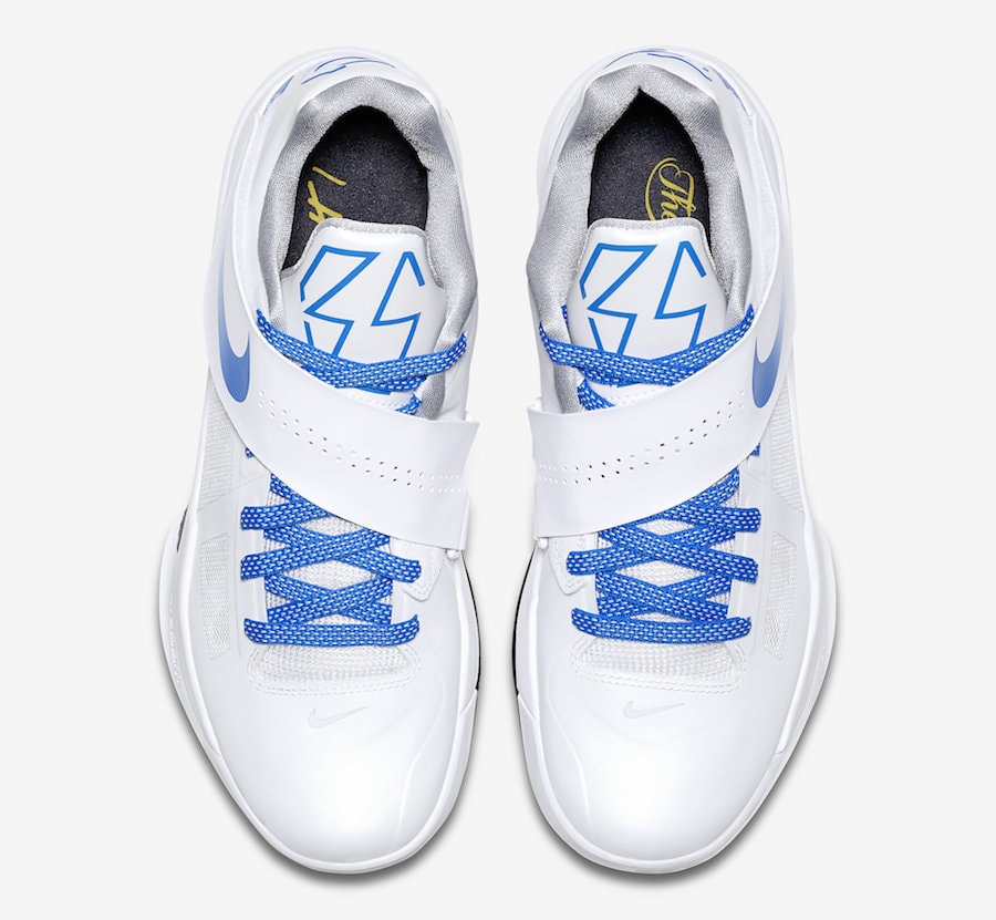 """buy popular 1667d 6402c Nike KD 4 QS """"Thunderstruck"""" Release Date  June 7th, 2018. Price   140.  Color  White Photo Blue-Wolf Grey-Black Style Code  AQ5103-100"""