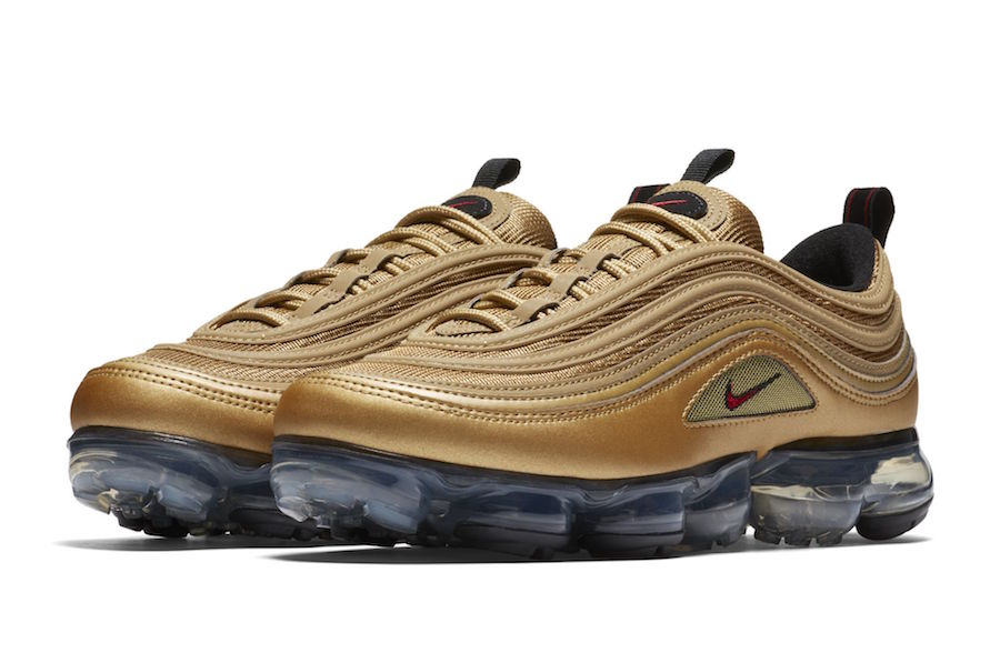 "8dea0d4b6be Nike Air Vapormax 97 ""Metallic Gold"" Release Date  May 2018. Price   190.  Color  Metallic Gold Varsity Red-Black-White"
