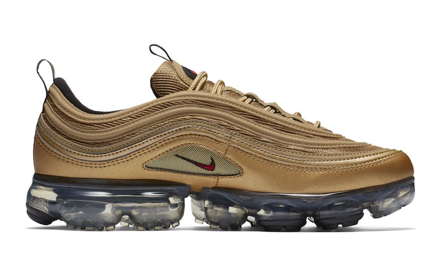 "ed85510972de8 Nike Air Vapormax 97 ""Metallic Gold"" Release Date  May 2018. Price   190.  Color  Metallic Gold Varsity Red-Black-White"