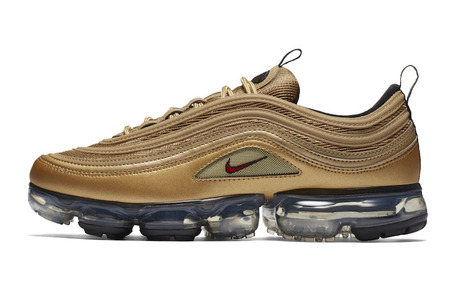 "236197cbf1443 Nike Air Vapormax 97 ""Metallic Gold"" Release Date  May 2018. Price   190.  Color  Metallic Gold Varsity Red-Black-White"