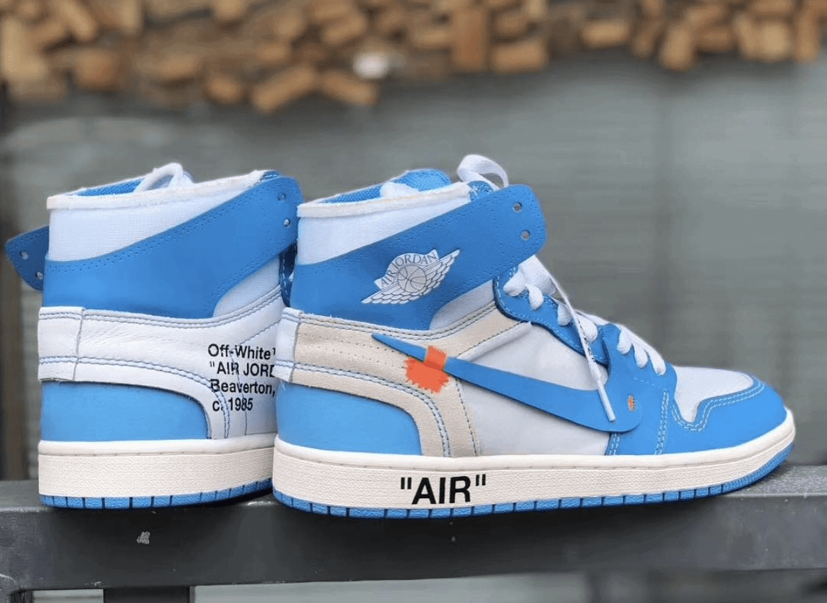 "383e9ebe9a9ff1 The Long-Awaited Off-White x Air Jordan 1 ""UNC"" Finally Surfaces Online"