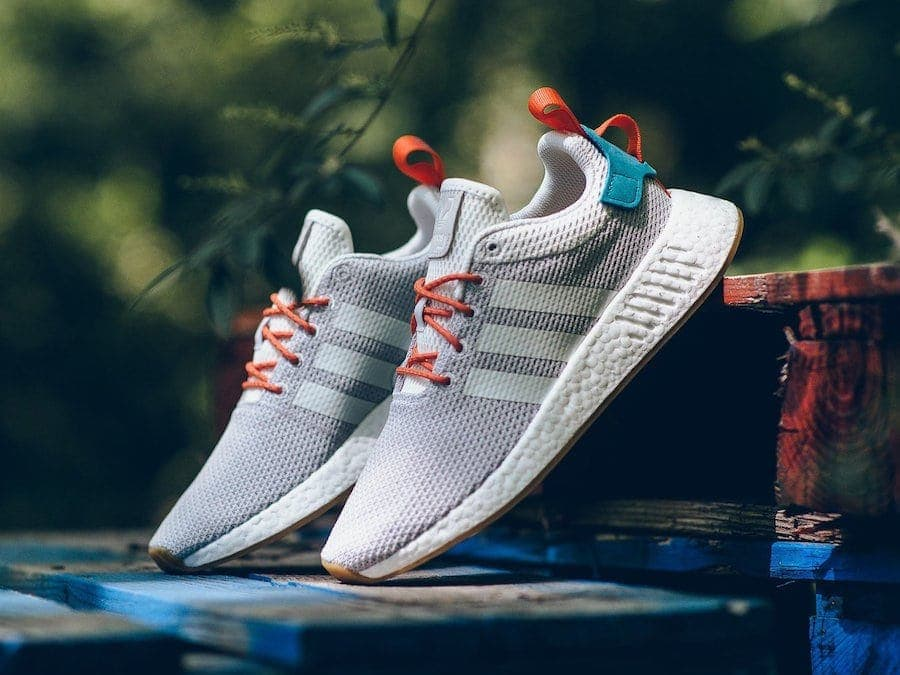 """b8b78db4a adidas NMD R2 """"Summer"""" Release Date  Coming Soon Price   130. Color   Crystal White Orange-Green Style Code  CQ3080"""