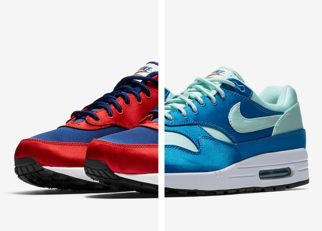 """separation shoes e0379 fab5e Nike Adds Three New """"Satin"""" Colorways to the Air Max 1 Coming Soon"""