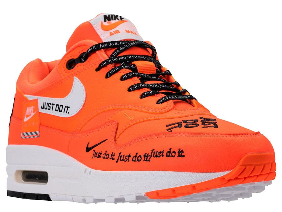 "newest dd6b4 c54ef Nike WMNS Air Max 1 Lux ""Just Do It"" Release Date  June 28, 2018. Price    150. Color  White Black-Total Orange"