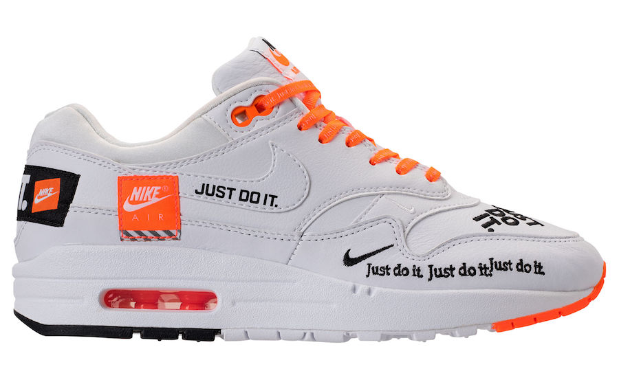 """newest b25e3 8bd89 Nike WMNS Air Max 1 Lux """"Just Do It"""" Release Date  June 28, 2018. Price    150. Color  White Black-Total Orange"""