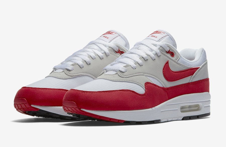 Nike Air Max 1 Anniversary Release Date: June 1st, 2018. Price: $140. Color: White/University Red Style Code: 908375-100