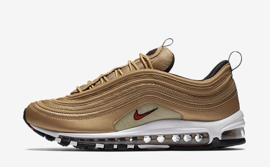 "8a67720c1c7d1 Nike s Air Max 97 ""Gold Bullet"" is one of the most coveted Air sneakers of  all time. After the massively popular retro release last year"