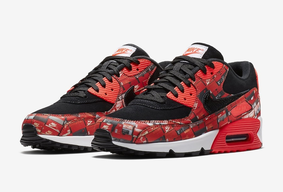 "the latest 33790 c316b Nike Air Max 90 Print ""We Love Nike"" Release Date  May 17th, 2018. Price    140. Color  Black Bright Crimson-White Style Code  AQ0926-001"