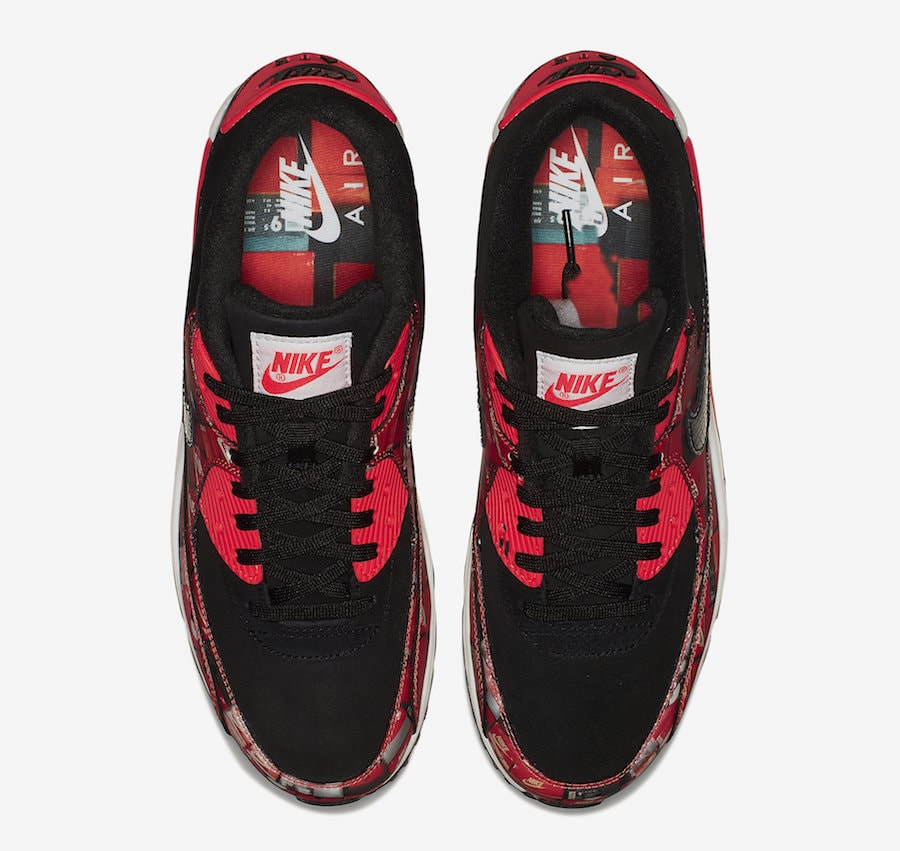 """the latest 3ae7a 8adf1 Nike Air Max 90 Print """"We Love Nike"""" Release Date  May 17th, 2018. Price    140. Color  Black Bright Crimson-White Style Code  AQ0926-001"""